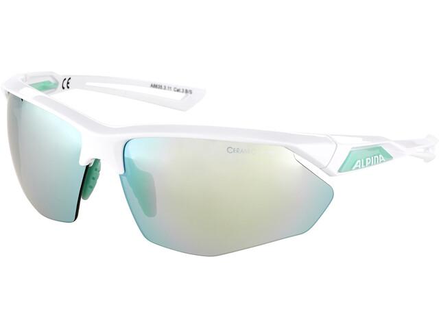 Alpina Nylos HR Glasses white-pistachio/emerald mirror